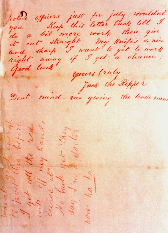 ... the writing of the author of the original jack the ripper letter