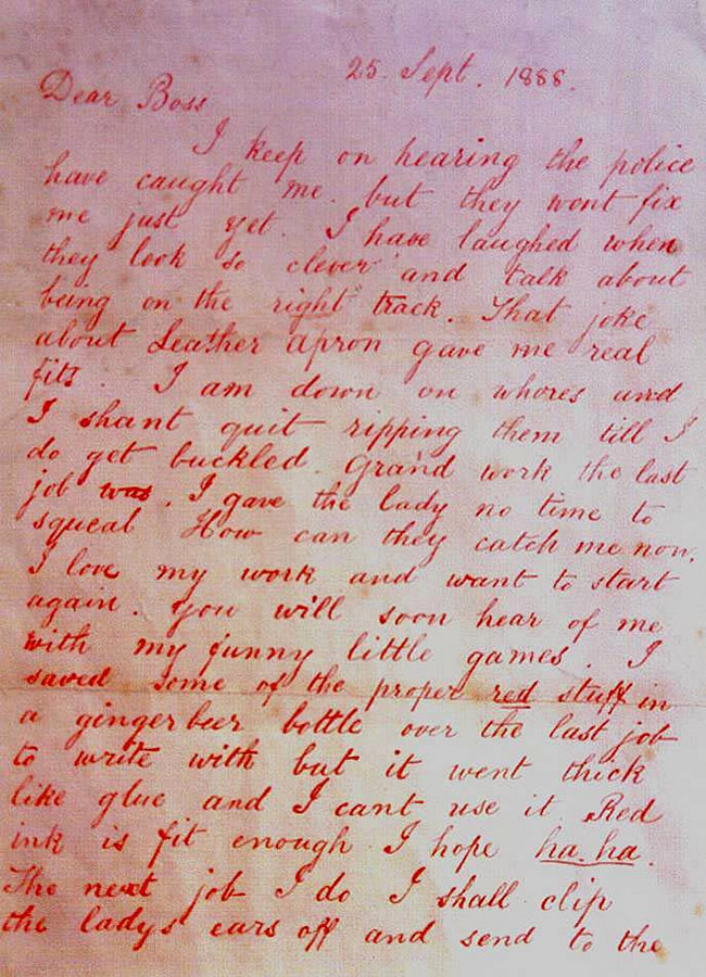Jack the Ripper Dear Boss Letter