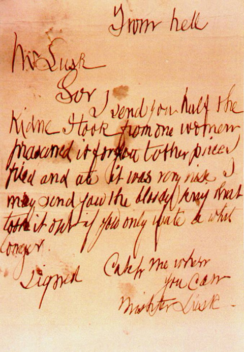 Jack the Ripper From Hell Letter