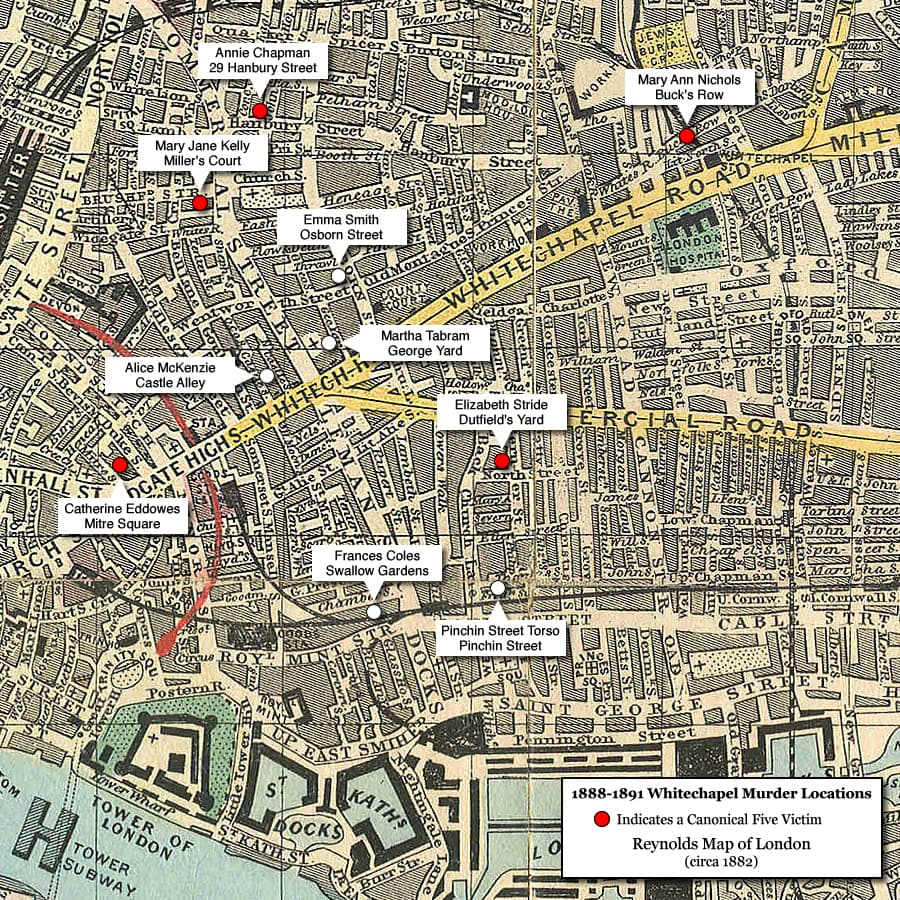 Map of Whitechapel Murder Locations 1888-1891