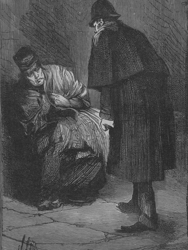 Jack the Ripper portrayed wearing a deerstalker hat and long overcoat
