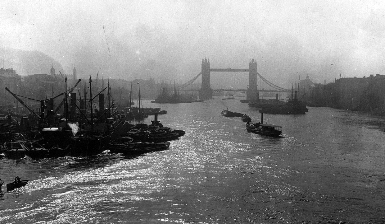 River Thames near Tower Bridge, Victorian Era